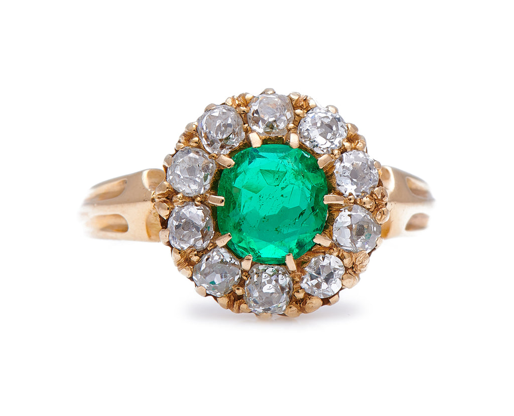 Antique Victorian, 18 Carat Gold Emerald and Diamond Cluster Ring