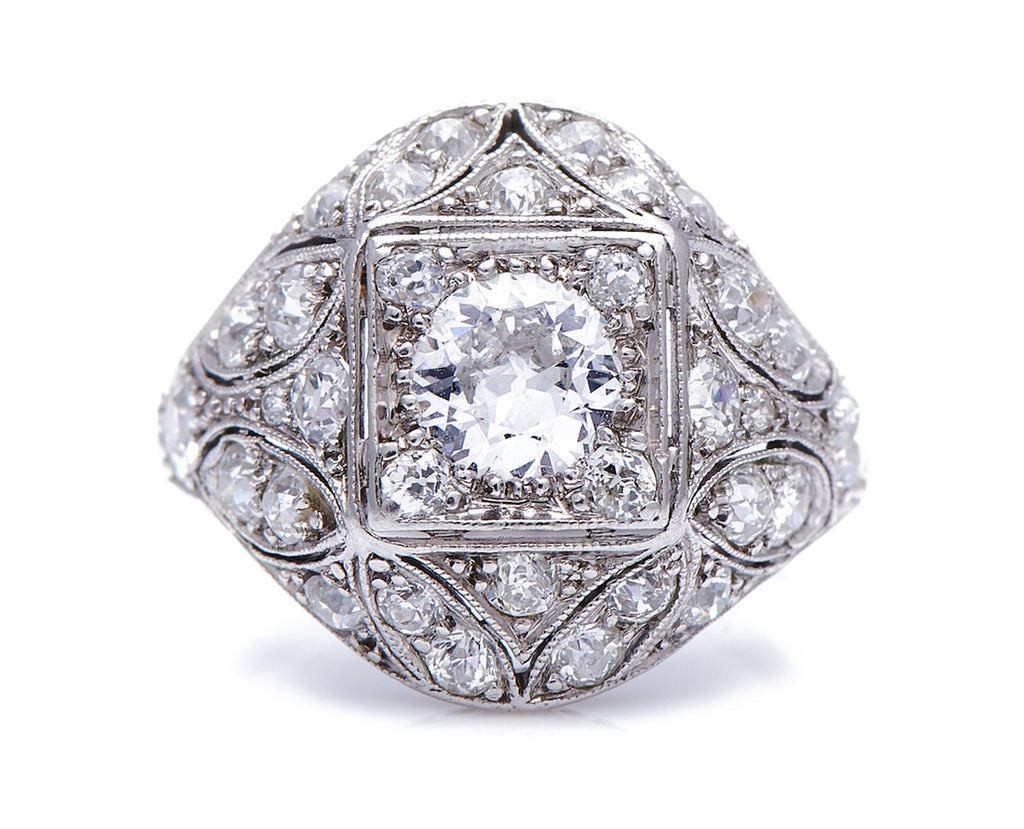 Antique Belle Epoque, Platinum, Diamond Bombe Ring