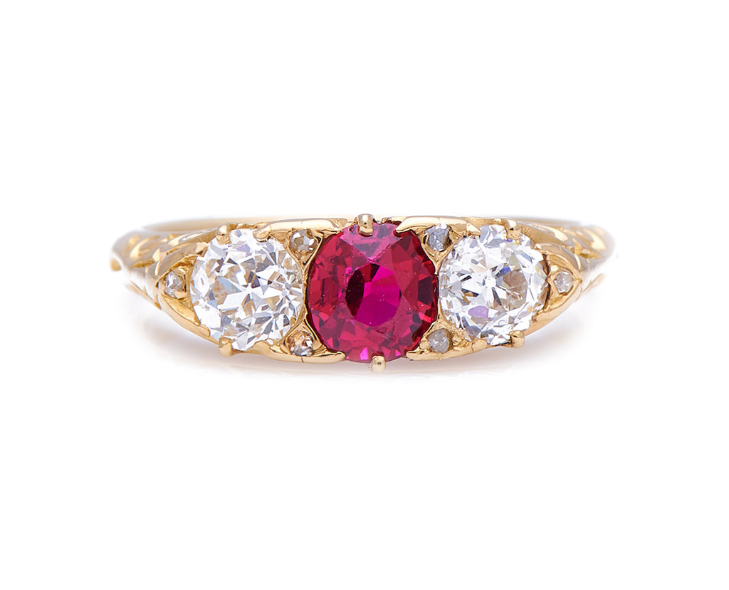 Antique Victorian, 18ct Gold, Natural 'Blood-Red' Burmese Ruby and Diamond Ring
