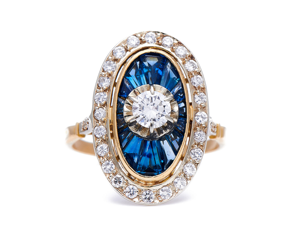 Art Deco, French, 1930's, 18ct Gold, Diamond and Calibre Sapphire Engagement Ring