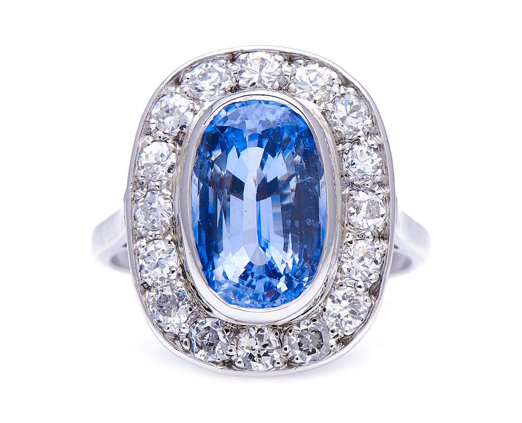 Mid-Century, French, 1930's, Sapphire and Diamond Engagement Ring