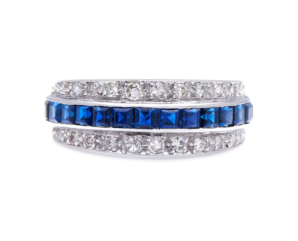 Antique Art Deco, Platinum, Sapphire and Diamond Band Ring