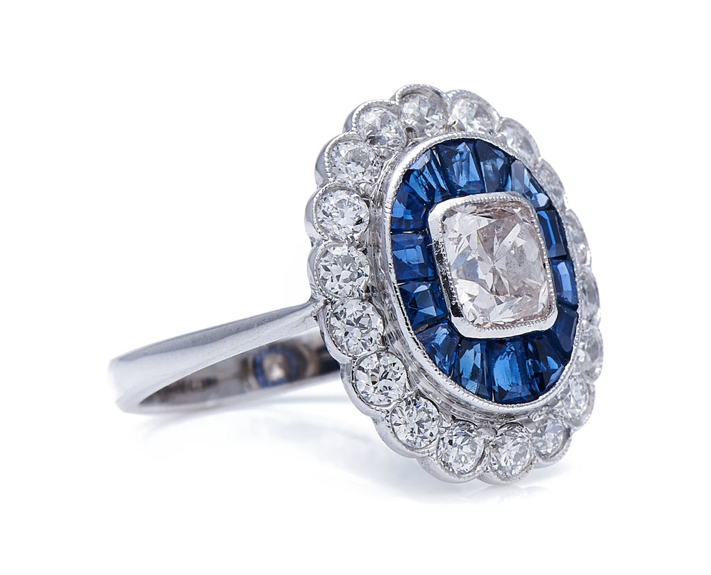 Vintage, 18ct White Gold, Diamond and Sapphire Cluster Ring