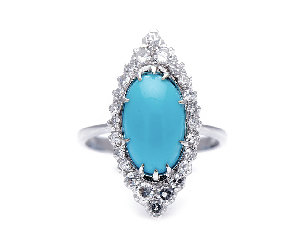 Antique Art Deco, 18ct White Gold, Natural Turquoise and Diamond Marquise Ring