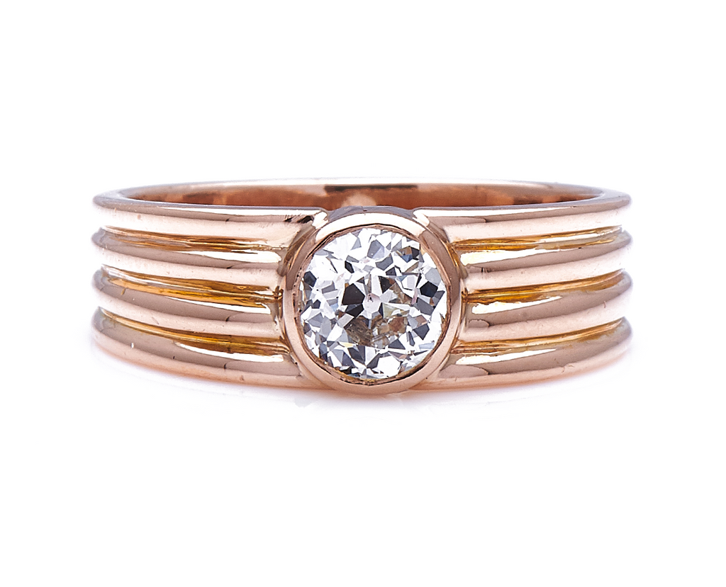 Antique Art Deco, French, 18ct Rose Gold, Diamond Ring