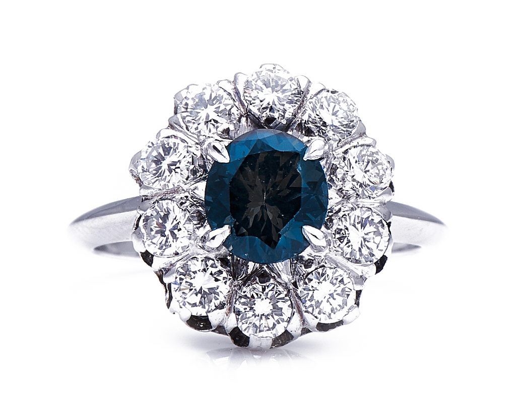 Antique Art Deco, French, 18ct White Gold, Cobalt Spinel and Sapphire Ring