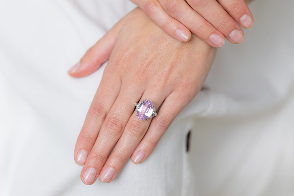 Art Deco, Platinum, Kunzite and Diamond Cocktail Ring
