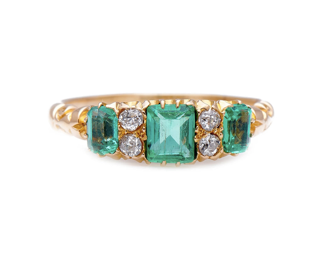 Antique Edwardian, 18ct Gold, Colombian Emerald and Diamond Ring