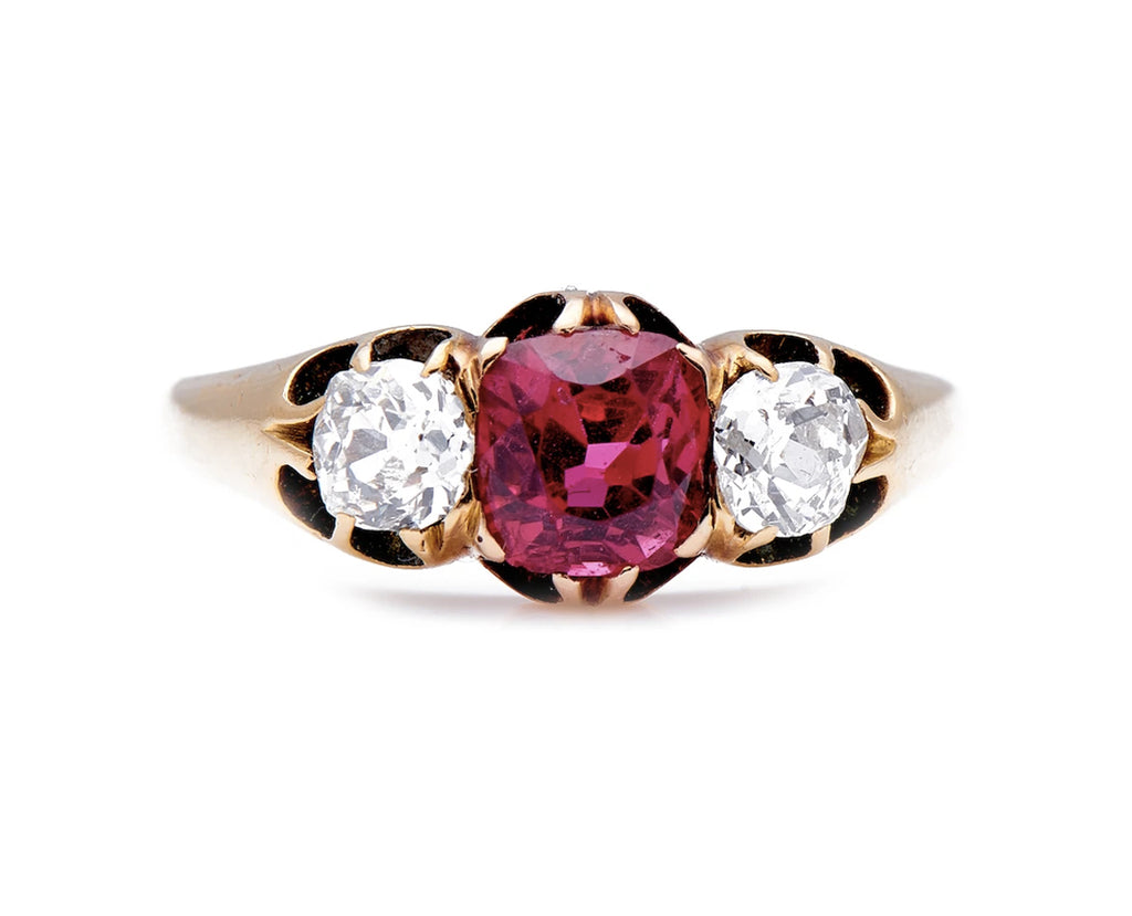 Antique Edwardian, 18ct Gold, Natural Burmese Red Spinel and Diamond Ring