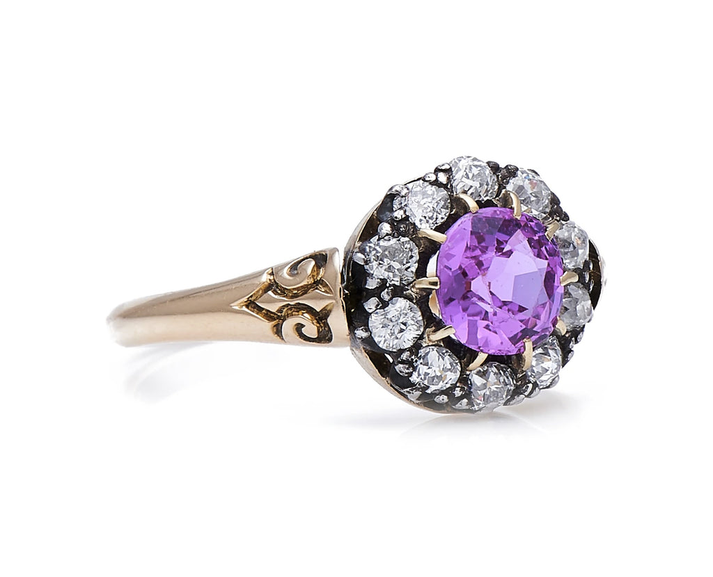 Edwardian, 18ct Gold, Natural Pink Sapphire and Diamond Cluster Ring