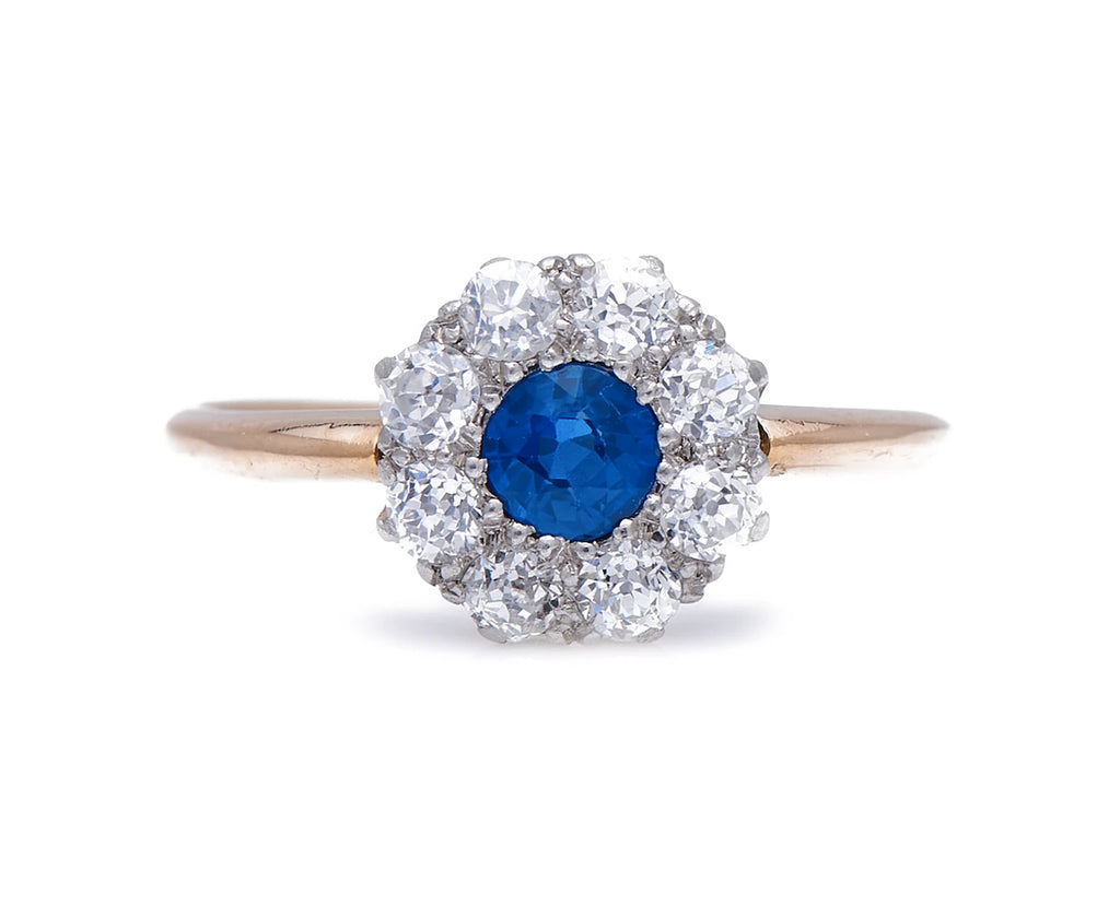Antique Edwardian, 18ct Gold, Platinum, Sapphire and Diamond Engagement Ring