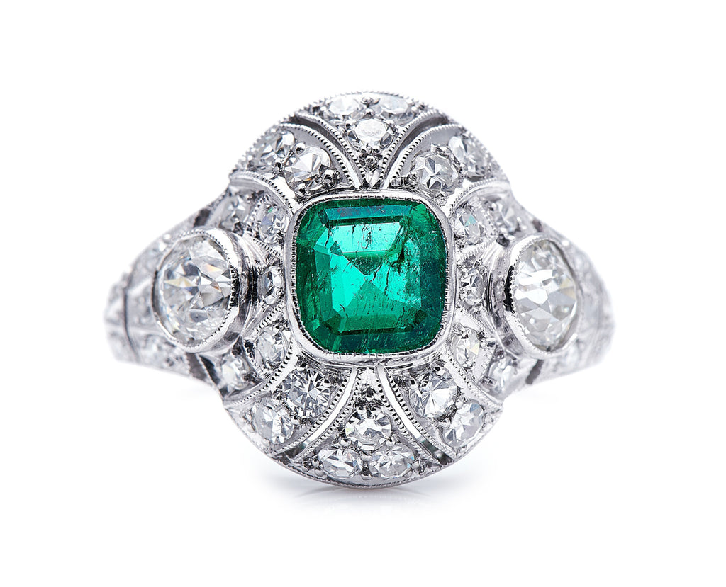 Antique Late Edwardian, Platinum, Colombian Emerald and Diamond Cluster Ring