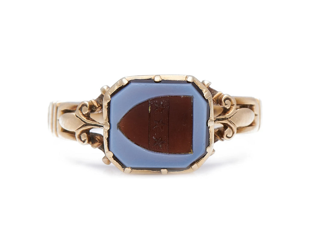 Antique Victorian, 15ct Gold, Carved Agate Signet Ring