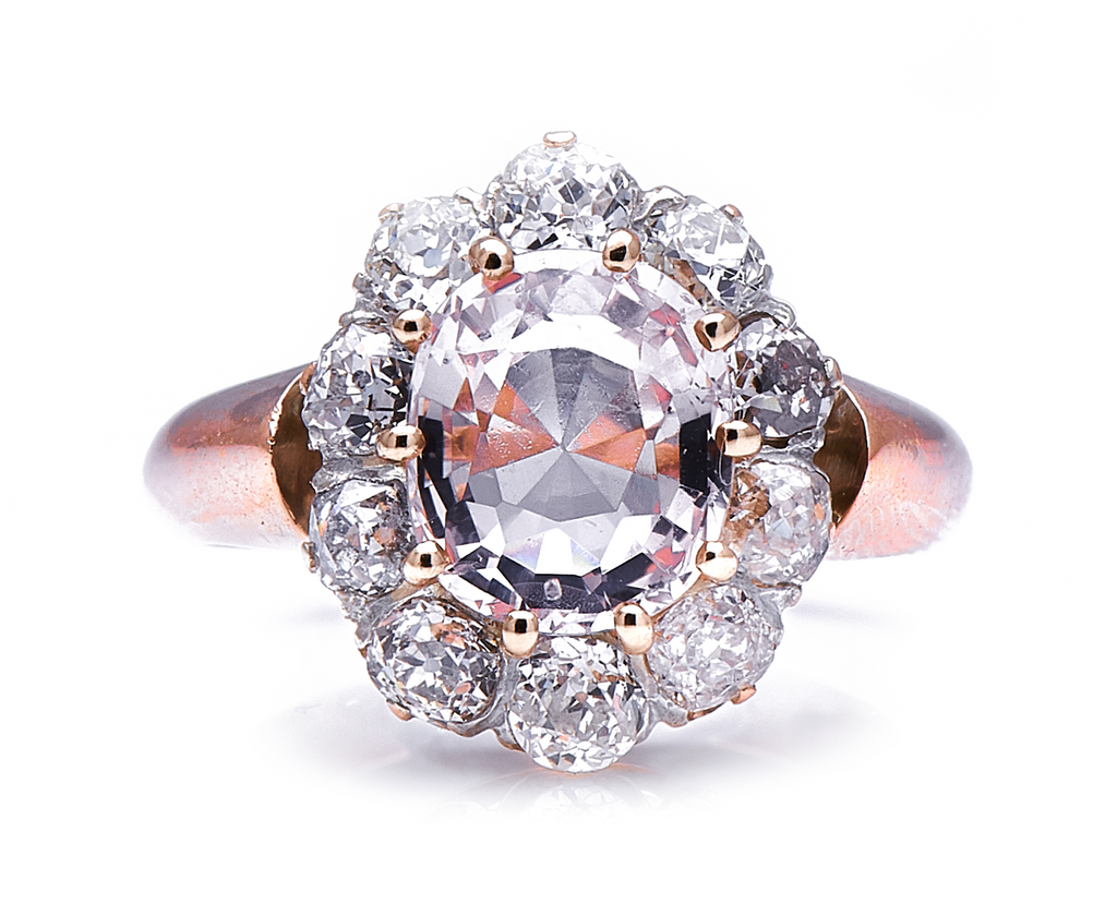 Antique Victorian, 18 Carat Gold, Peach Sapphire and Diamond Cluster Ring