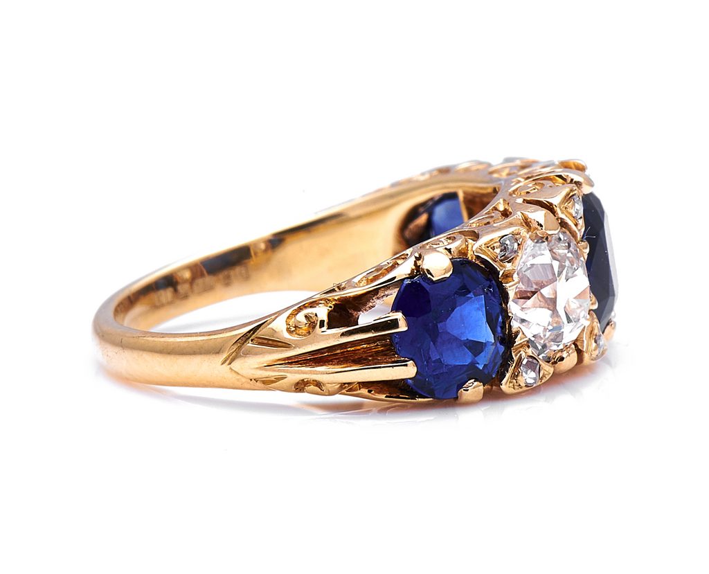 Antique Victorian, 18ct Yellow Gold, Sapphire and Diamond Five-Stone Ring
