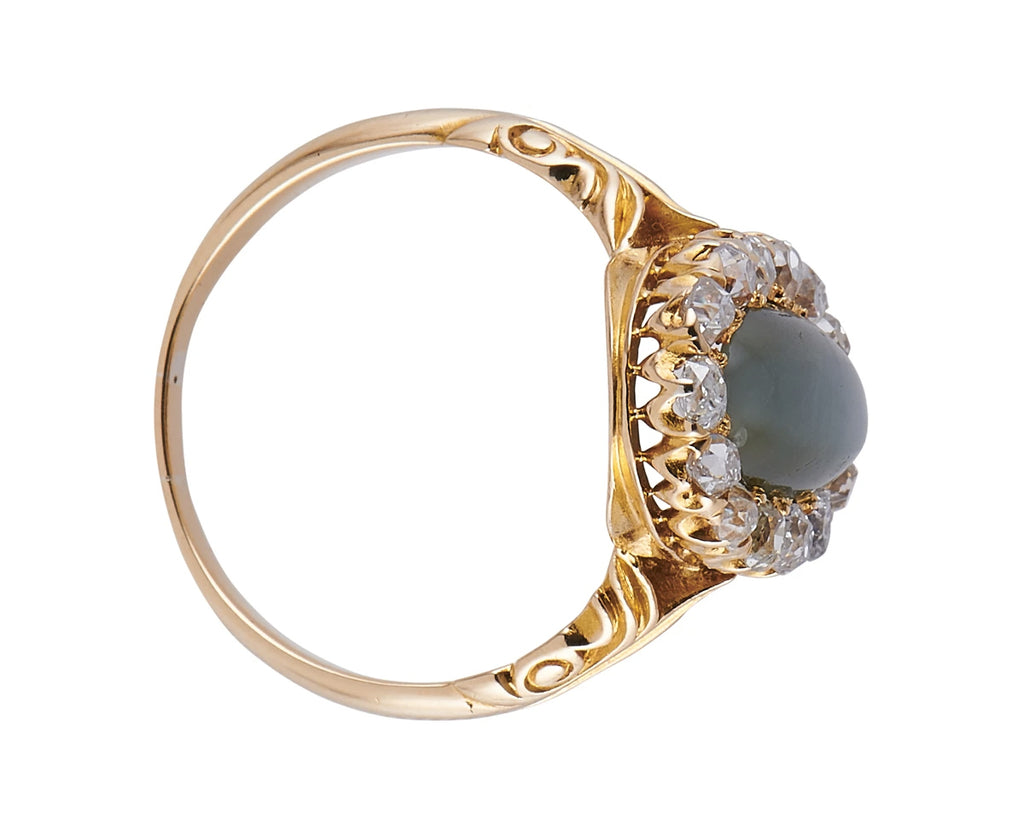 Antique Victorian, 18ct Gold, Cat's Eye and Diamond Cluster Ring