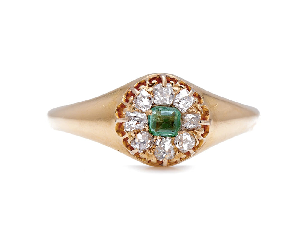 Antique Victorian, 18ct Gold, Emerald and Diamond Cluster Ring