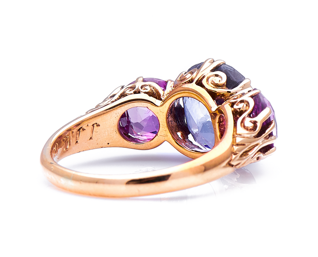 Antique Victorian, 18ct Gold, Natural Colour-Change Sapphire and Pink Sapphire Ring