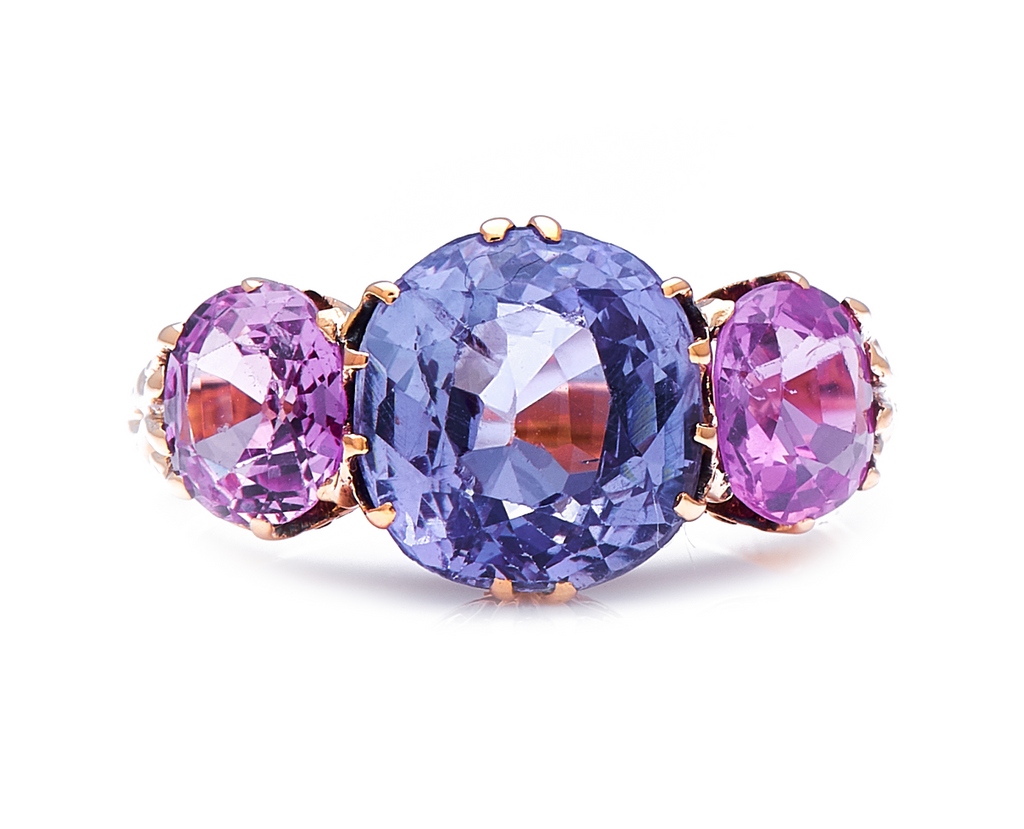 Antique Victorian, 18ct Gold, Natural Colour Change Sapphire and Pink Sapphire Ring