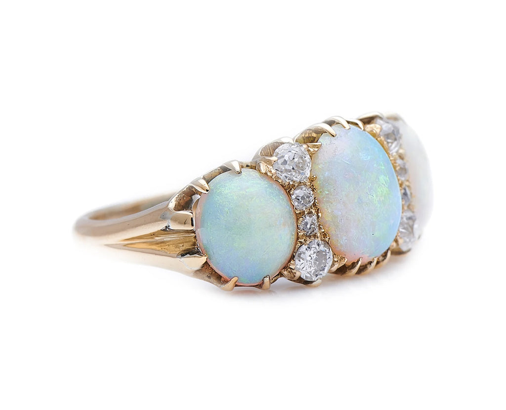 Antique Victorian, 18ct Gold, Opal and Diamond Ring