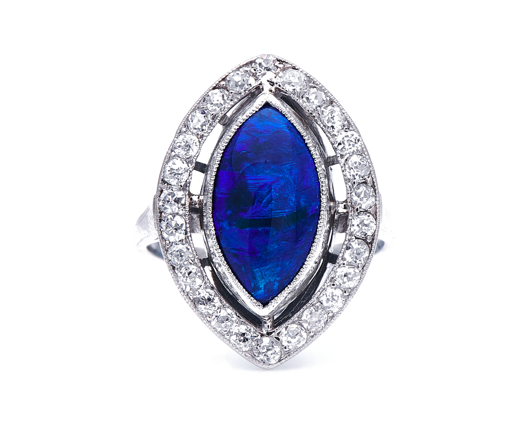 Antique, Art Deco, 18ct White Gold, Natural Black Opal and Diamond Ring