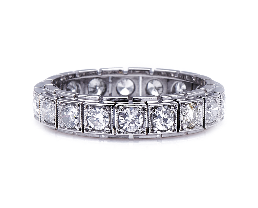 Antique, Art Deco, Platinum, Diamond Eternity Ring