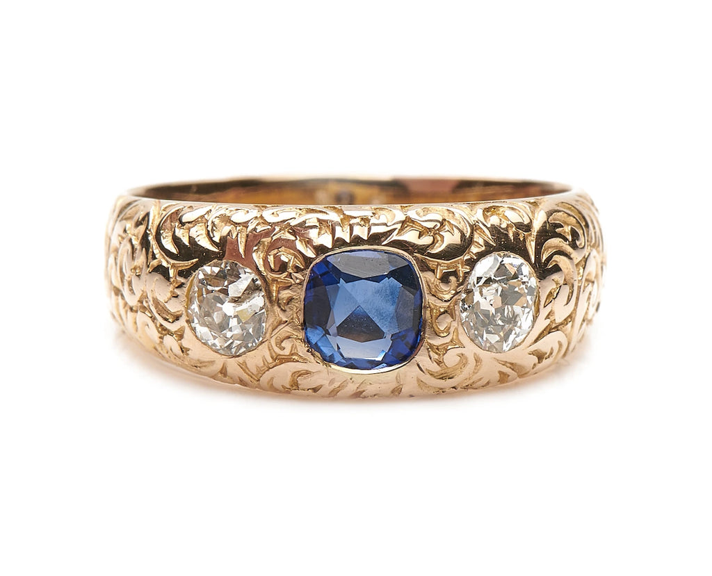 Antique, German, Victorian, 14ct Gold, Sapphire and Diamond Gypsy Ring