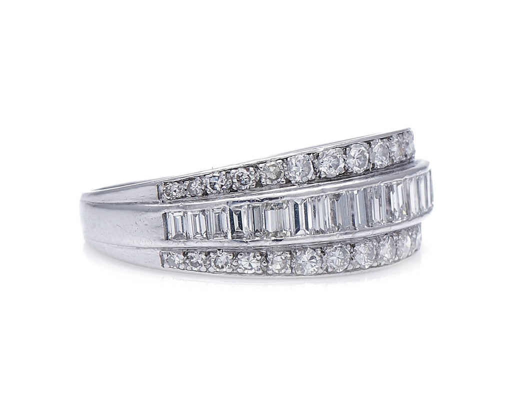 Art Deco, Platinum, Diamond Half Eternity Ring