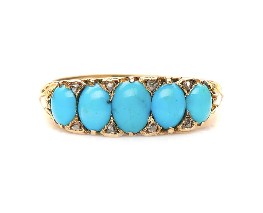 Antique, Victorian, 18ct Gold, Natural Turquoise and Diamond Ring