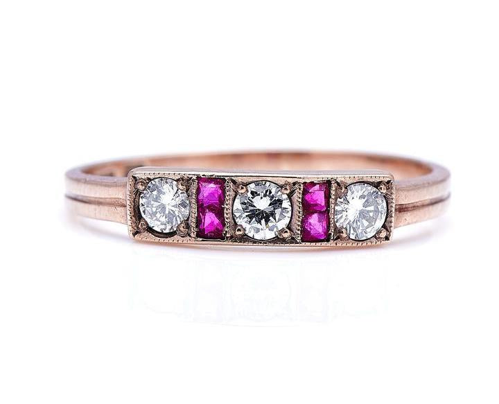 Art Deco, 14ct Gold, Ruby and Diamond Ring