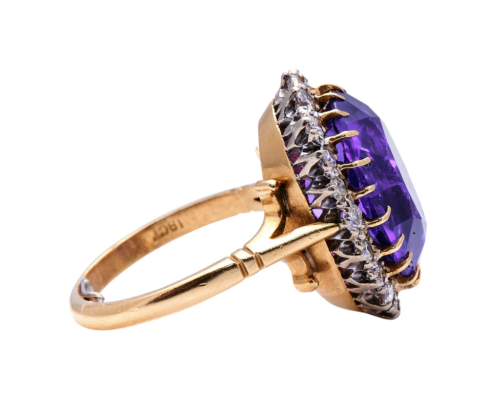Art Deco, 18ct Gold, Amethyst and Diamond Cluster Ring