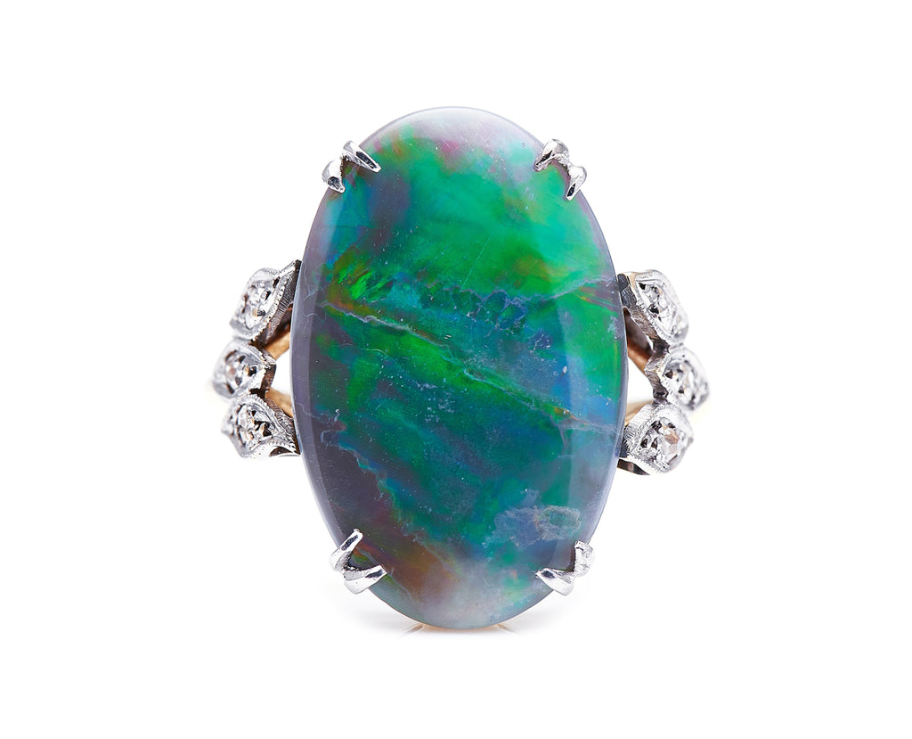Art Deco, 18ct Gold, Black Opal and Diamond Ring