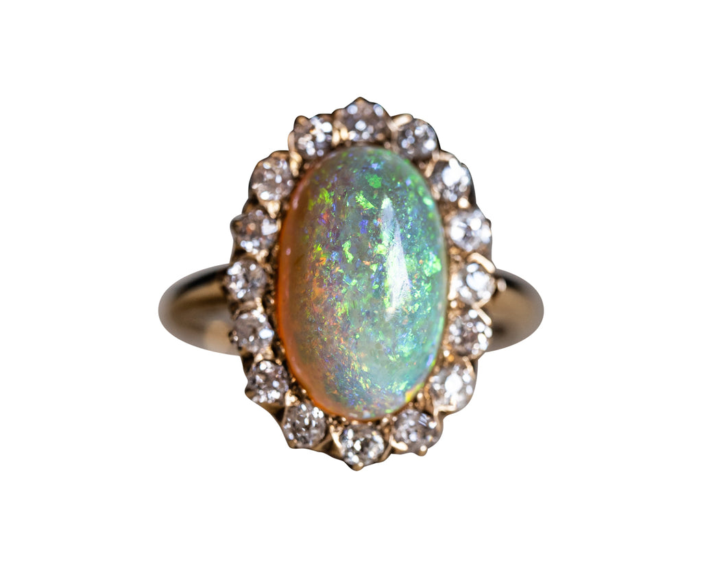 Art Deco, 18ct Gold, Opal and Diamond Ring