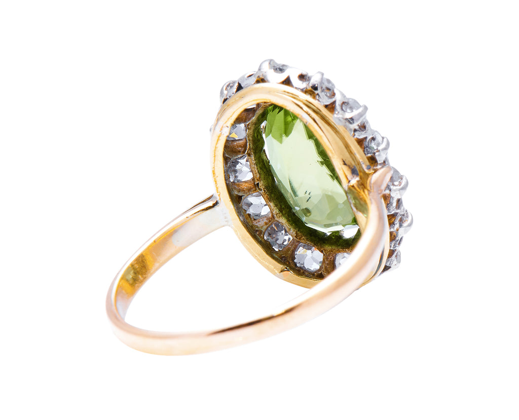 Art Deco, 18ct Gold, Peridot and Diamond Cluster Ring