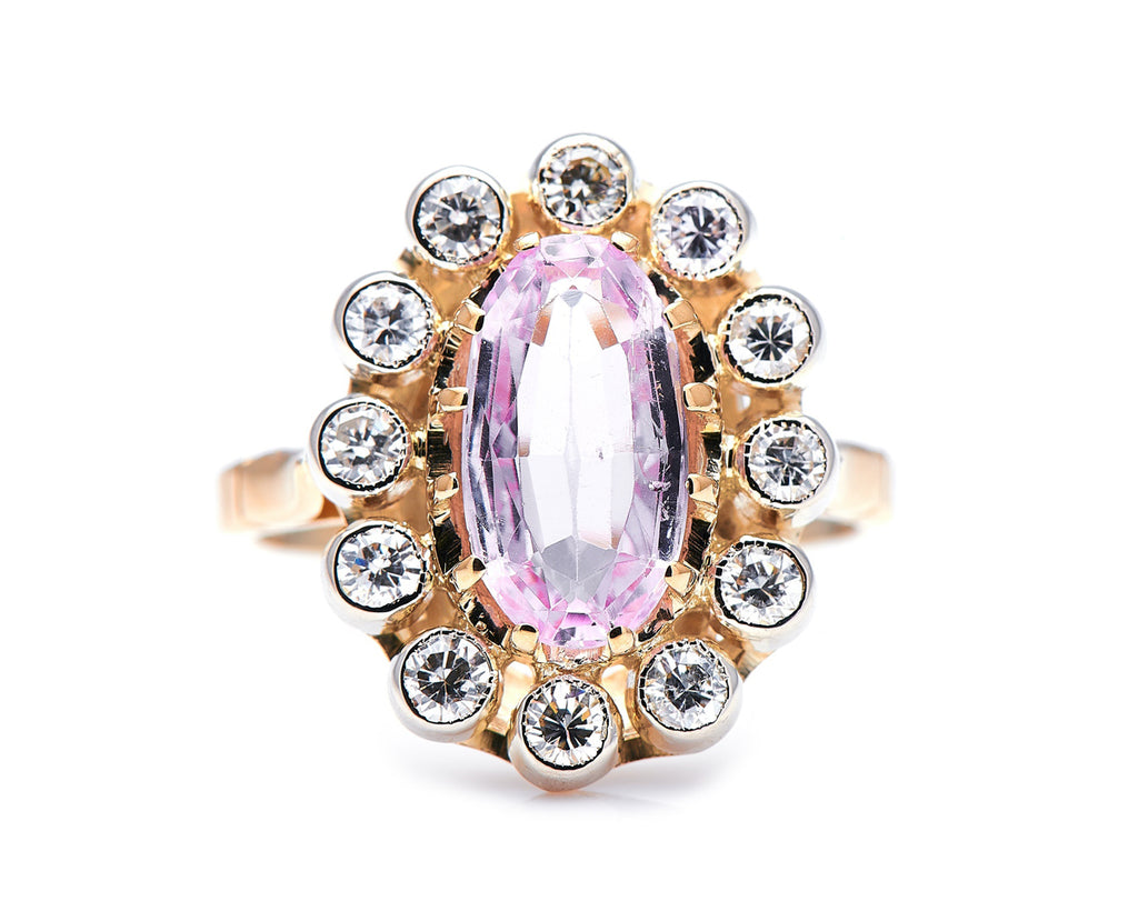 Art Deco, 18ct Gold, Pink Topaz and Diamond Cluster Ring