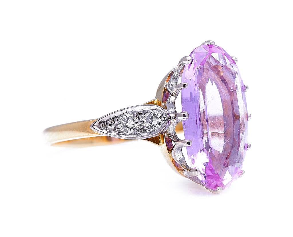 Art Deco, 18ct Gold, Pink Topaz and Diamond Ring