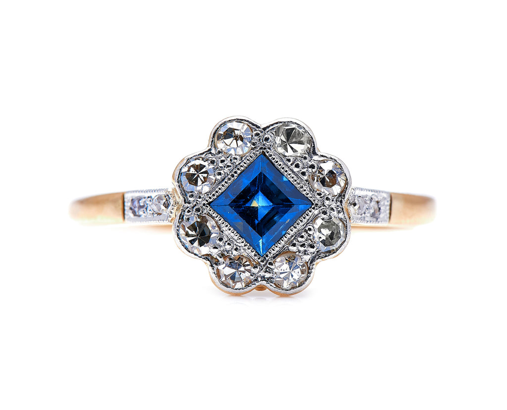Art Deco, 18ct Gold, Sapphire and Diamond Engagement Ring