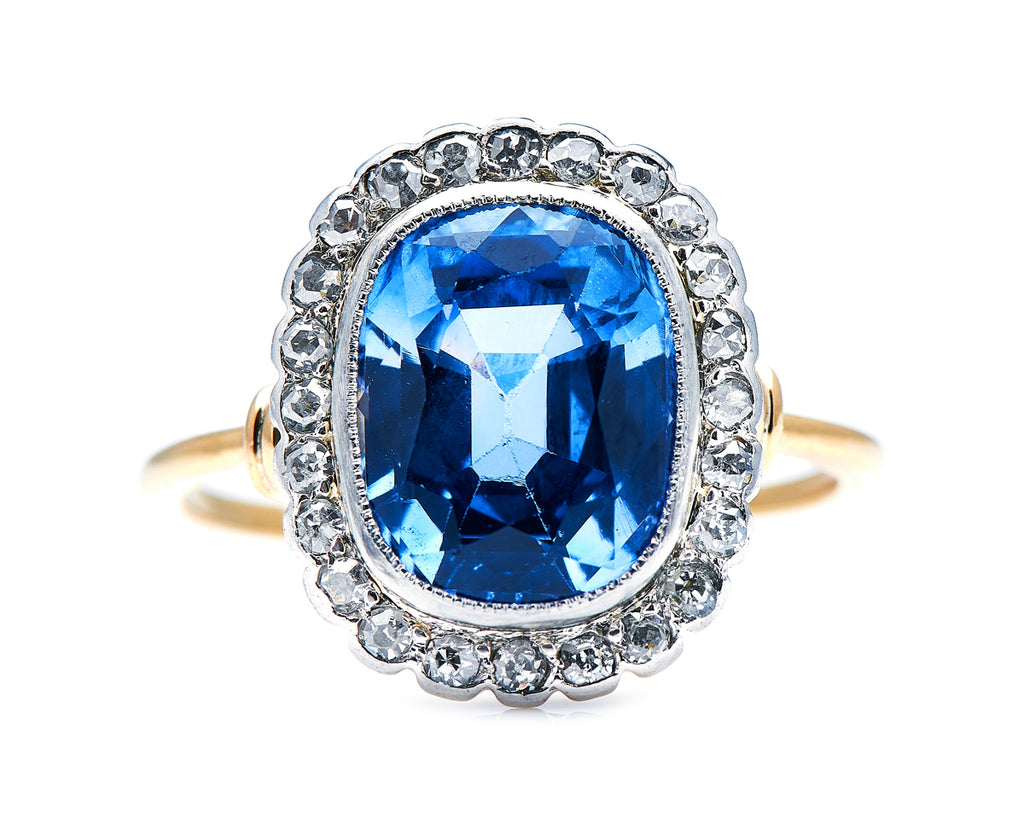 Art Deco, 18ct Gold, Sri Lanka Sapphire and Diamond Cluster Ring