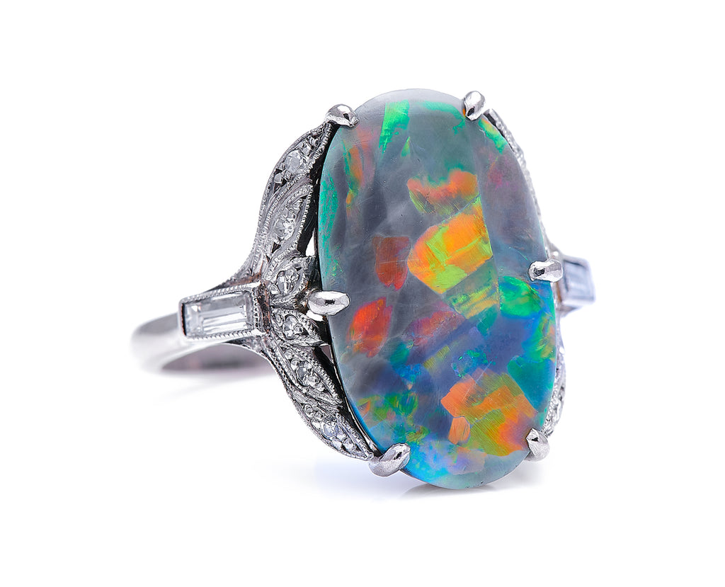 Art Deco, 18ct White Gold, Black Opal and Diamond Ring