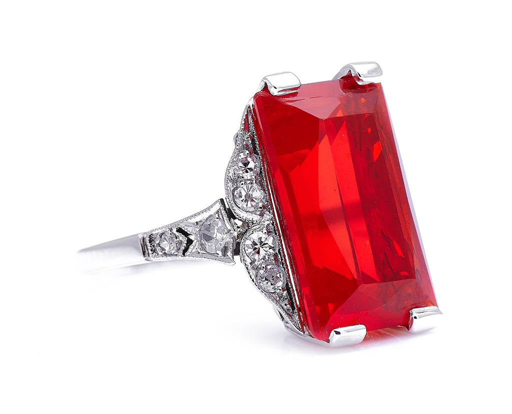 Art Deco, 18ct White Gold, Fire Opal and Diamond Ring