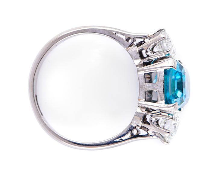 Art Deco, 18ct White Gold, Platinum, Zircon and Diamond Three-Stone Ring