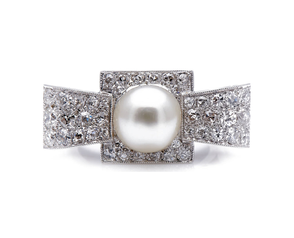 Art Deco, 1930's, 18ct White Gold, Large Pearl and Diamond Cocktail Ring