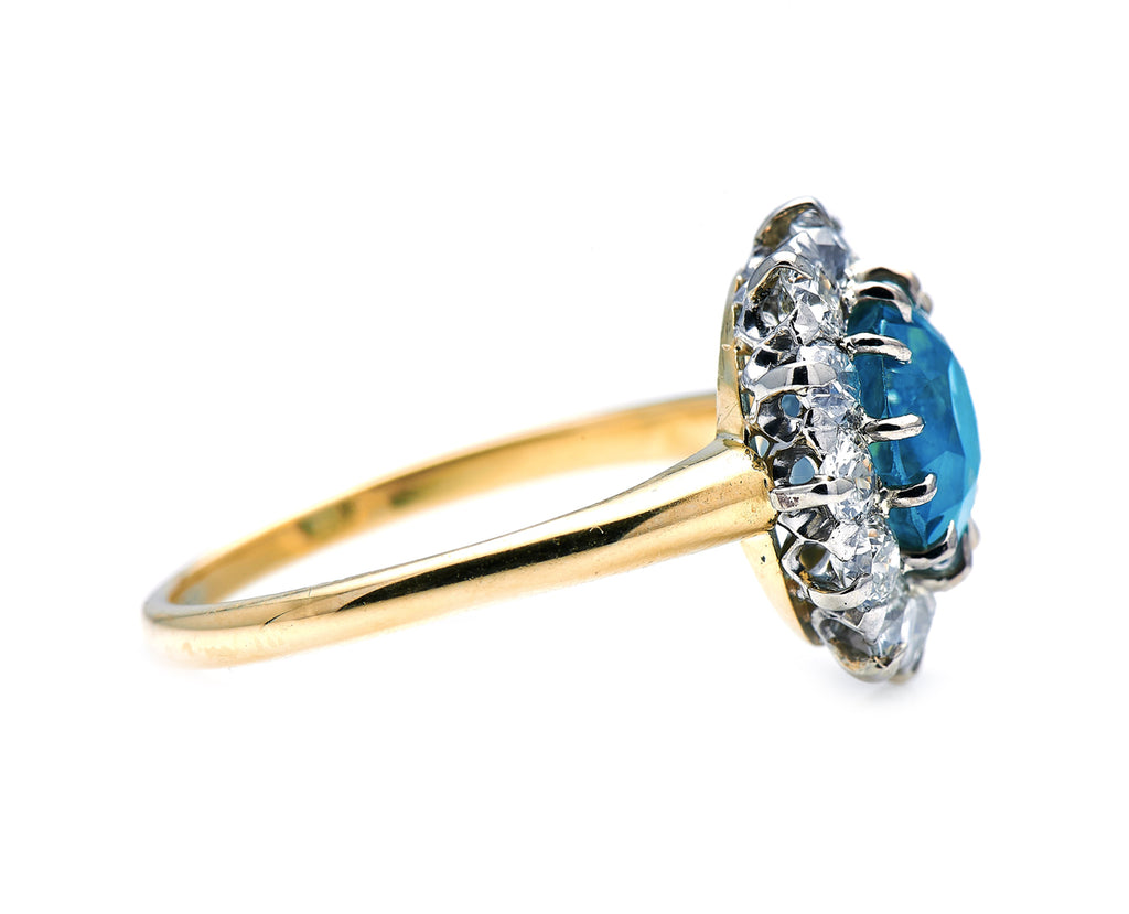Art Deco, American, Rare Teal Sapphire and Diamond Cluster Ring