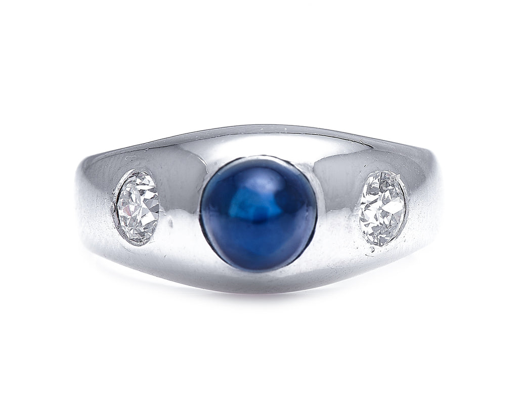 Art Deco, Austrian, 14ct White Gold, Cabochon Sapphire and Diamond Ring