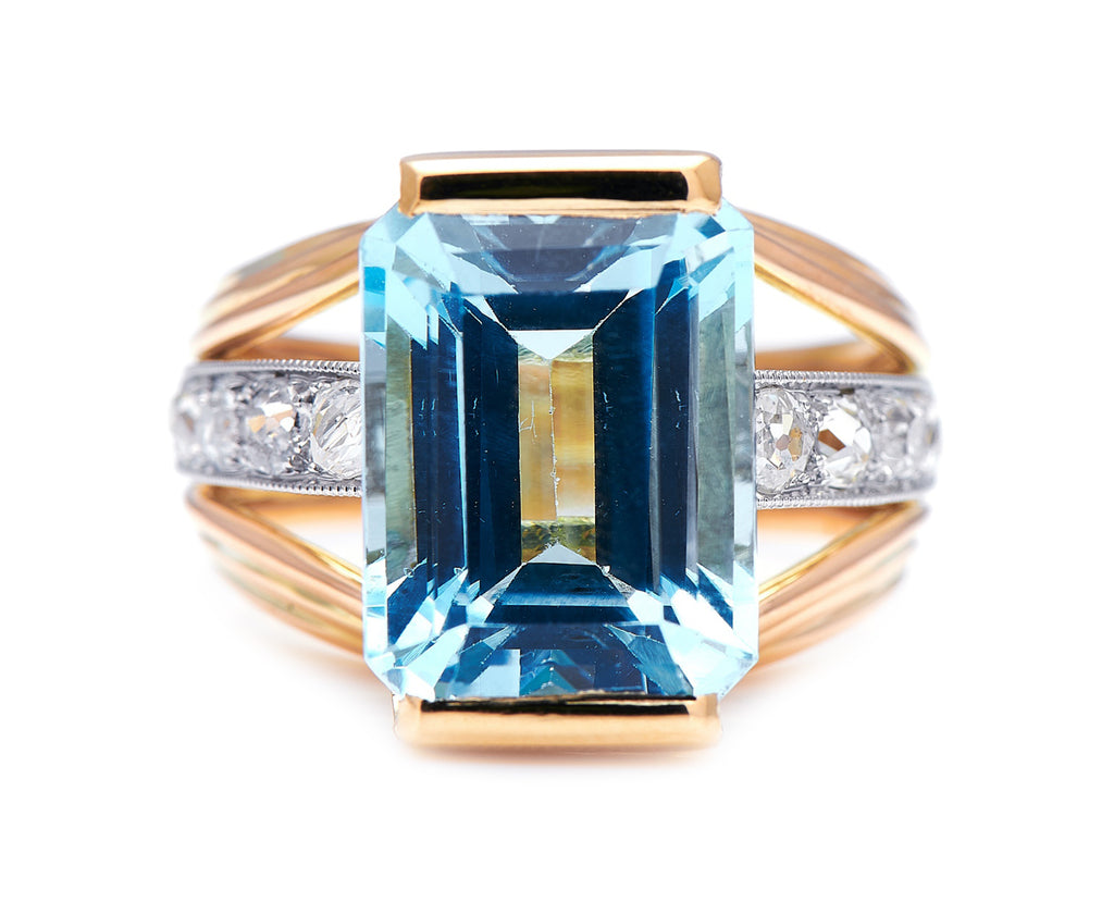 Art Deco, French, 18ct Gold, Aquamarine and Diamond Ring