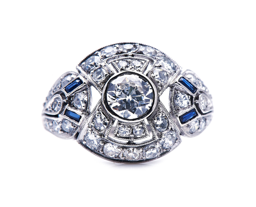 New: Art Deco, French, Platinum, Diamond and Sapphire Bombé Ring