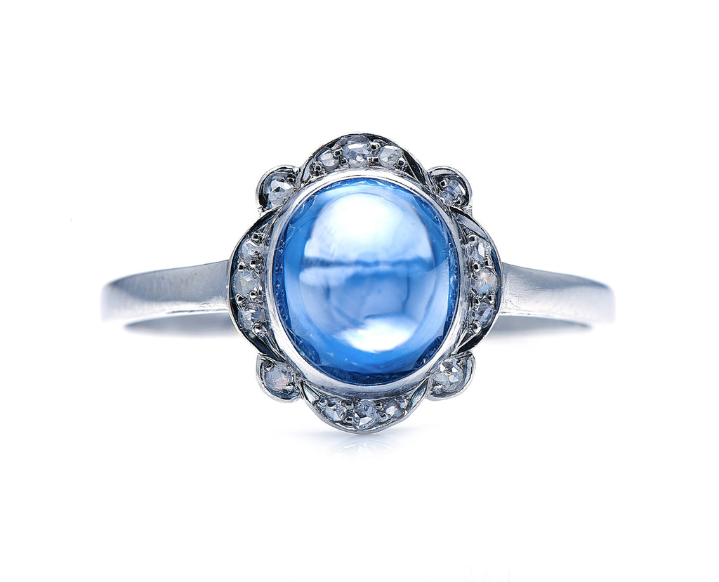 Art Deco, Platinum, Cabochon Sri Lankan Sapphire and Diamond Ring