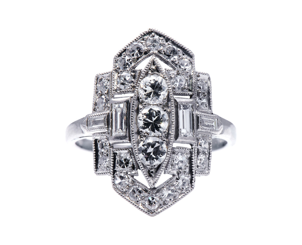 Art Deco, Platinum, Diamond Plaque Ring