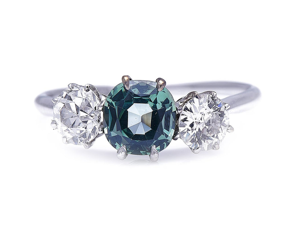 Art Deco, Platinum, Green Sapphire and Diamond Three Stone Ring