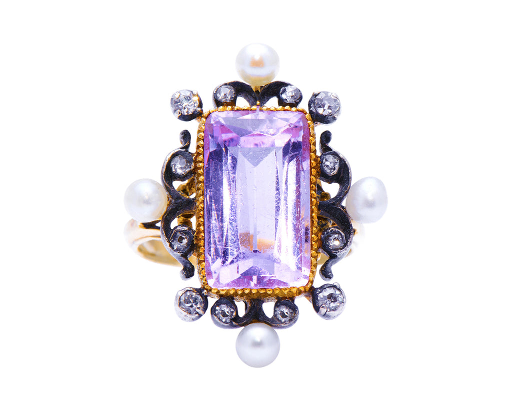 Belle Époque, 18ct Gold, Pink Topaz, Pearl and Diamond Ring